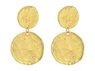 Kenneth Jay Lane Satin Gold Coin Double Drop Pierced Ear Earrings