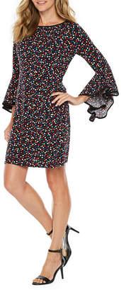 MSK 3/4 Bell Sleeve Dot Shift Dress