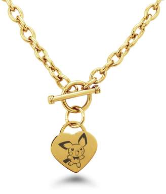Pokemon Tioneer Gold Plated Stainless Steel 2nd Gen Pichu Heart Charm, Necklace Only