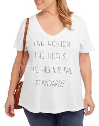 Project Karma Women's Plus The Higher the Heels Vneck Graphic T-Shirt
