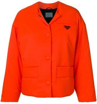 Prada collarless puffer jacket