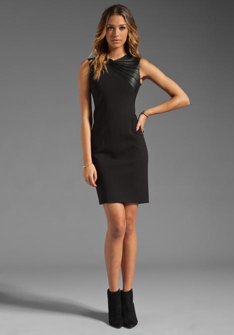 Halston Sleeveless Pleated Leather Trim Dress