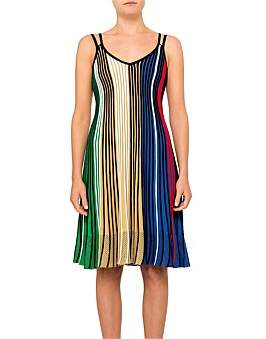 Kenzo Viscose Blend Multi Colour Strap Rib Knit Dress