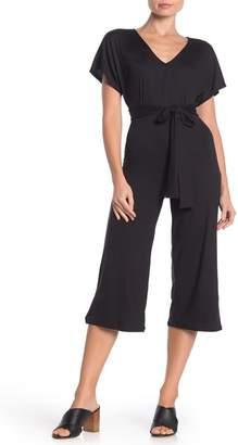 Velvet Torch Kimono Sleeve Tie Crop Jumpsuit