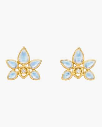 Temple St. Clair Blue Moonstone Lotus Earrings