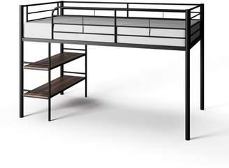 LOFT Mainstays Beckett Kids Metal Twin Bed with Open Book Shelf