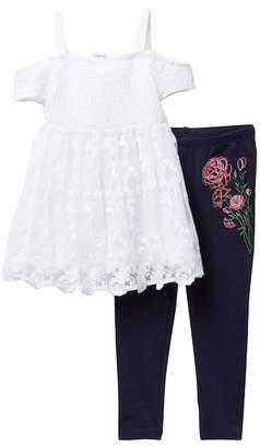 Bebe Off-the-Shoulder Smocked Tunic & Leggings Set (Toddler & Little Girls)