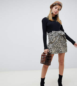 Lost Ink Petite mini skirt with bow tie waist in leopard print