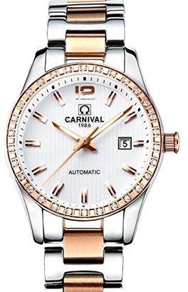 Carnival カーニバルWomens自動マシンローズゴールドステンレススチールサファイア防水レディースホワイト腕時計