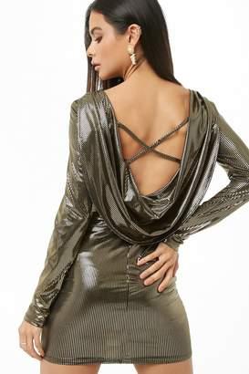 Forever 21 Metallic Cowl Back Dress
