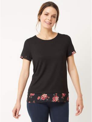 George Black Floral Mock Layer Top