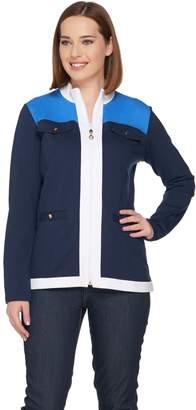 Susan Graver Weekend French Terry Color-Block Zip Front Jacket