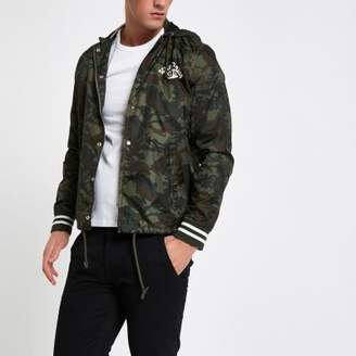 Schott khaki green coach jacket
