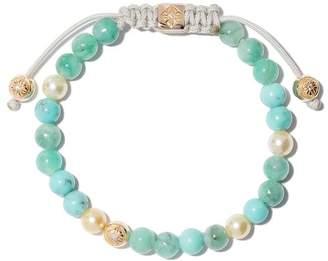 Shamballa Jewels 18kt yellow gold, diamond & emerald beaded Non-Braided bracelet