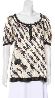 BCBGMAXAZRIA Satin Printed Top