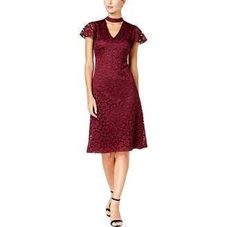Donna Ricco Women's Short Sleeve Choker Lace Midi Dress