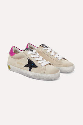 Golden Goose Kids - Size 28 - 35 Superstar Glittered Distressed Suede And Metallic Leather Sneakers