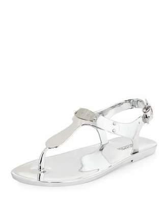 MICHAEL Michael Kors MK Plate Jelly Flat Thong Sandal, Silver $41 thestylecure.com