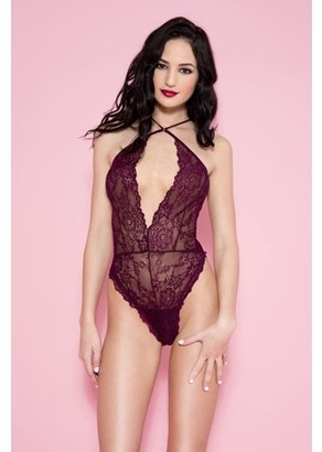 Music Legs Lace open front cut teddy with strappy back 80021-BURGUNDY