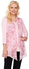Susan Graver Printed Crinkle Chiffon Vest w/Liquid Knit Top