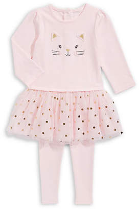 Little Me Baby Girl's Kitty Two-Piece Tutu Dress Cotton Leggings Set