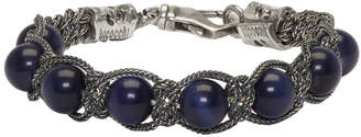 Emanuele Bicocchi Silver and Blue Beaded Bracelet