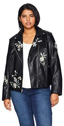 Levi's Size Women's Plus Faux Leather Embroidered Motorcyle Jacket