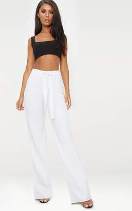 PrettyLittleThing White Contrast Stitch Tie Waist Casual Trousers
