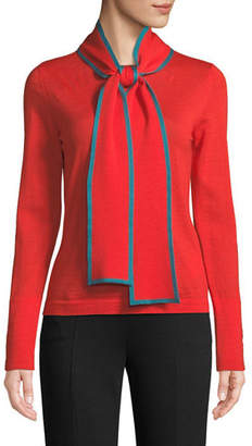 Escada Long-Sleeve Contrast Trim Neck-Sash Wool Pullover Top