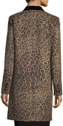 Saint Laurent Leopard-Print One-Button Coat