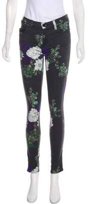 J Brand Floral Print Mid-Rise Jeans