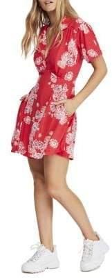 Free People Hawaii Floral Mini Fit Flare Dress