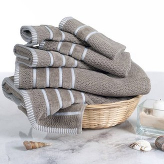 Combed Cotton Towel Set- Rice Weave 100% Combed Cotton 6 Piece Set With 2 Bath Towels, 2 Hand Towels and 2 Washcloths by Somerset Home- Taupe