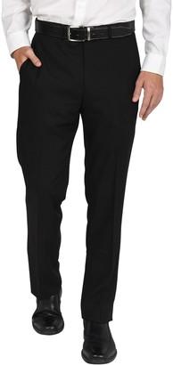 Men's Billy London Slim-Fit Flat-Front Black Suit Pants