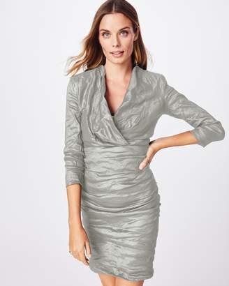 Nicole Miller Solid Techno Metal V-nk Dress