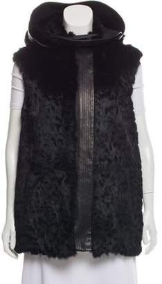 Helmut Lang Leather-Trimmed Fur Vest