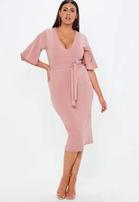 Missguided Plus Size Pink Plunge Kimono Sleeve Midi Dress
