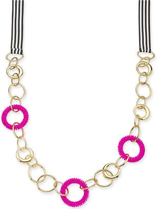 "INC International Concepts Trina Turk x I.n.c. Gold-Tone Bead & Link Ribbon 36"" Statement Necklace"