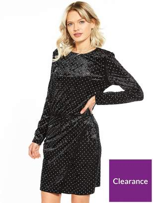 Warehouse Diamante Stud Velvet Dress