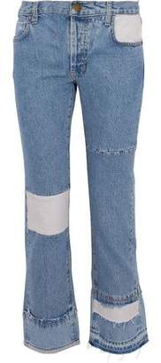 Current/Elliott Paneled Distressed High-Rise Flared Jeans