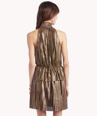 Sole Society Metallic Sleeveless High Neck Dress
