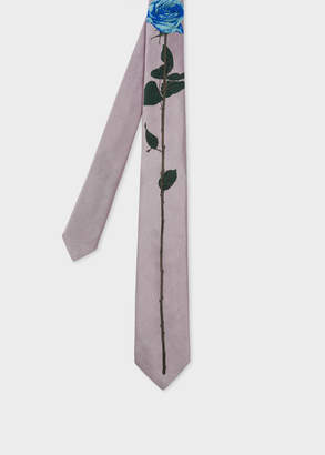 Paul Smith Men's Pink Rose Jacquard Narrow Silk Tie