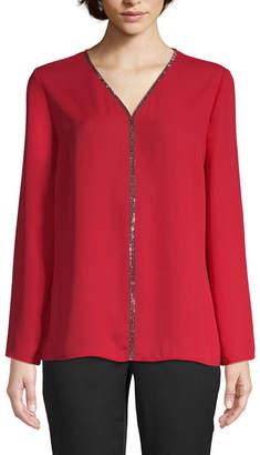 Liz Claiborne Womens V Neck Long Sleeve Woven Blouse