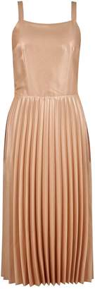 Dorothy Perkins Womens Gold Strappy Shimmer Pleat Skater Dress