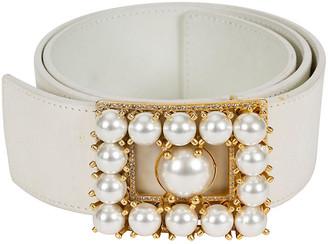 One Kings Lane Vintage 1980s Valentino White Pearl Belt - Vintage Lux
