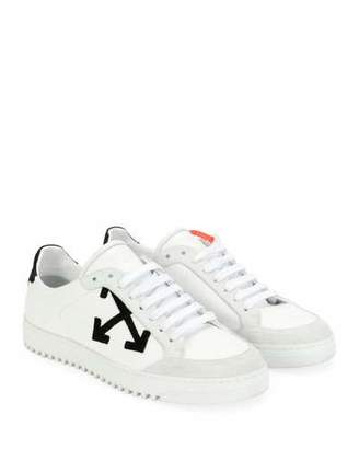 Off-White Carryover Leather/Suede Lace-Up Low-Top Sneakers
