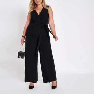 River Island Plus black belted culotte jumpsuit