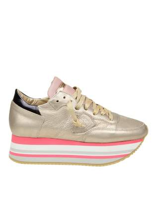 Philippe Model Eiffel Sneakers In Champagne Leather