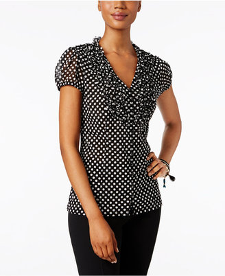 INC International Concepts Ruffled Polka-Dot Blouse, Only at Macy's $64.50 thestylecure.com