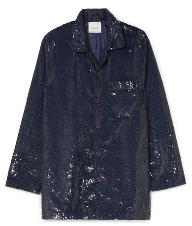 Ashish Sequined Cotton Shirt - Navy